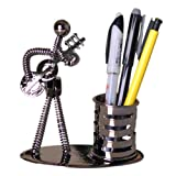 Decorative Pen Organizer / Pencil Holder Stand with Metal Man Playing Guitar