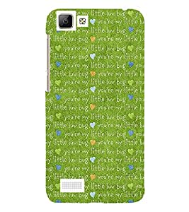 LOVE QUOTE ON A GREEN BACKGROUND 3D Hard Polycarbonate Designer Back Case Cover for vivo V1