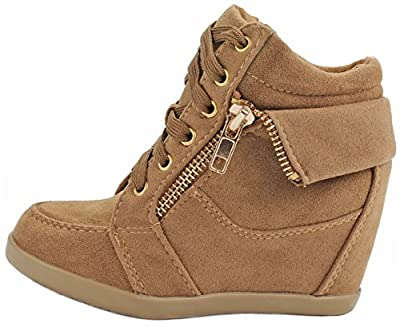 Peter Gladys24 Kids Tan Fashion Leatherette Suede Lace-up High Top Wedge Sneaker Bootie-4