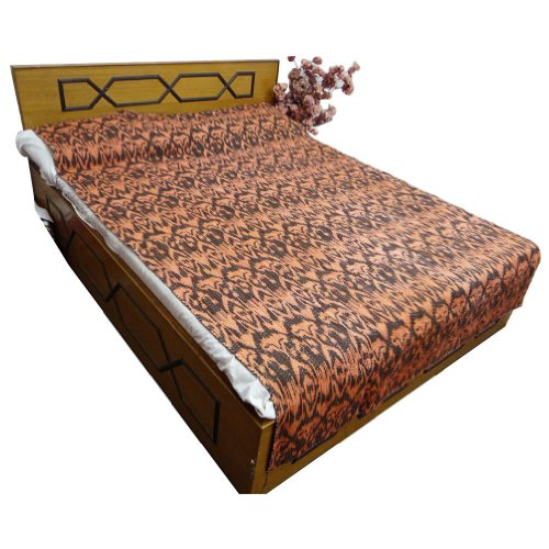 Twin Size Pure Cotton Quit Brown Abstract Print Bedspread Kantha Stitch Gudri front-883944