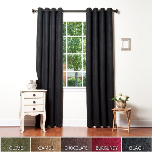 Cheap Curtains Black Faux Suede Grommet Top Insulated