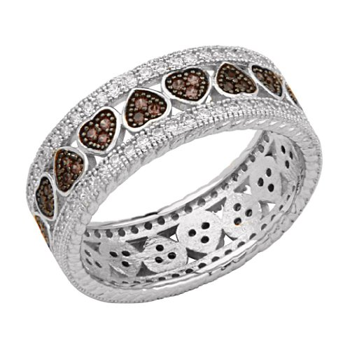 .925 Sterling Silver Micro Pave Cubic Zirconia Eternity Hearts Design Fashion Ring Band (Size 5 to 9) - Size 7