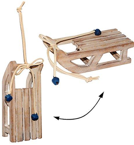 """3 Stück _ Deko - """" Schlitten """" - aus Holz - mit Glöckchen - 13,5 cm - Miniatur / Diorama - Weihnachtsdeko / Winter - Winterurlaub - Holzschlitten mini - Kinderschlitten - Weihnachtsschlitten / Tischdeko - Geschenkanhänger - Hörnerschlitten - braun / Wintersport / Puppenstube - Puppenhaus - Geldgeschenk - Hörnerrodel - Rodelschlitten / Holzrodel - Winterschlitten - Dekoration"""