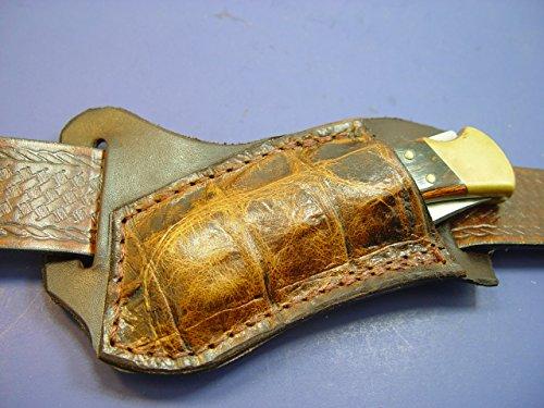 custom-leather-left-hand-cross-draw-pocket-knife-sheath-far-a-buck-110-are-112-on-top-is-alligator-p