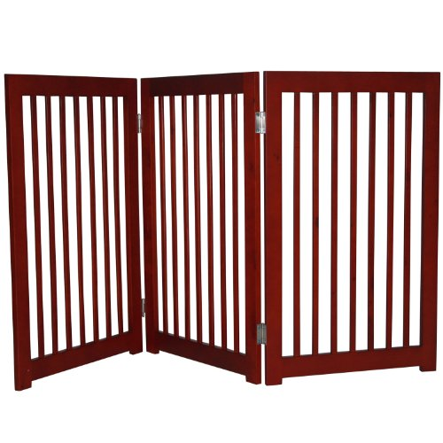 "Pawhut Wood 54"" 3-Panel Folding Wood Pet / Dog Playpen Fence front-554901"