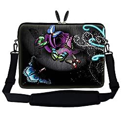 Meffort Inc 17 17.3 inch Laptop Sleeve Bag Carrying Case with Hidden Handle and Adjustable Shoulder Strap - Gray Butterfly Design