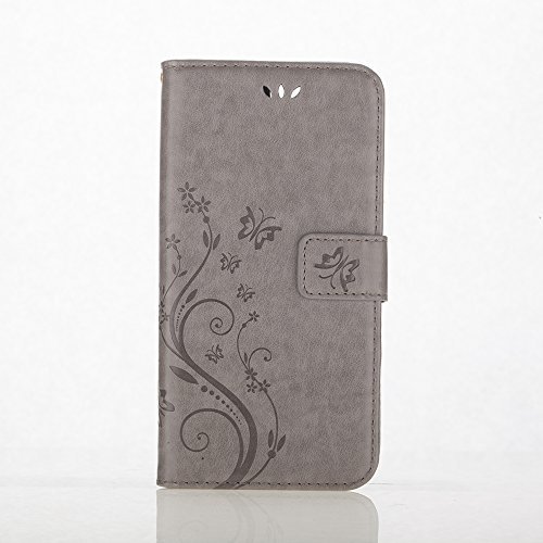 C-Super Mall-UK Apple iPhone 7 Case, PU embossed butterfly & flower Leather Wallet Stand Flip Case for Apple iPhone 7 (gray)