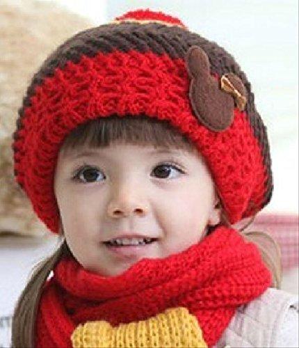 配色 が かわいい ニット帽 と マフラー セット (レッド×ブラウン)