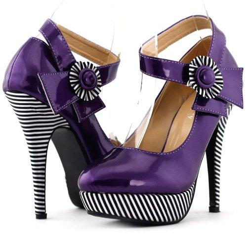 10. Show Story Sexy Flower Ankle Strap Stripe Stiletto Platform Pumps Shoes,LF30404