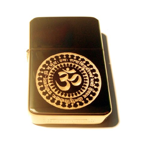 Vector KGM Thunderbird Custom Lighter - Gayatri Mantra Meditation Meditate Hindu GOD AUM Om Logo Brass Gold Hi Polish Finish Rare!