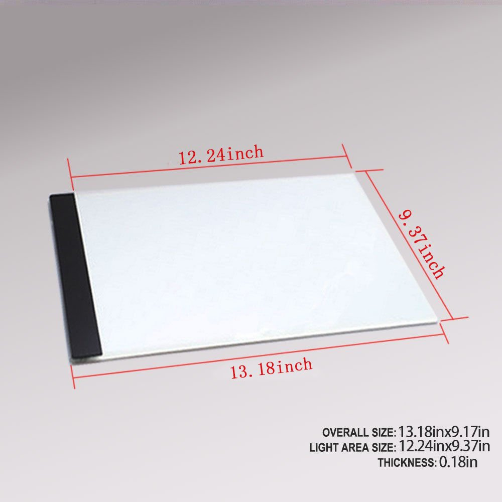 FAVOLCANO A4 Ultra Thin Portable USB Power LED Light Pad Tracing Board Light Box for Drawing Painting, Artists, Sketching, Animation,Active Area 12.24 x 9.37- Inch