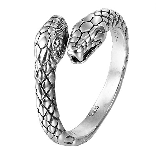 HSG Retro Double Snake Tail Ring 925 Sterling Silver (Snake Tail Ring compare prices)