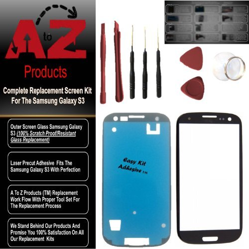 Premium Screen Replacement For Samsung Galaxy S3 Easykit Adhesive (Tm) Marble White Lens & Repair Kit S3 I9300 (At&T/Verizon/Sprint/T-Mobile/Us Cellular/Metro Pcs) I747 T999 I939 I535