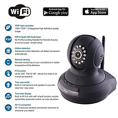 IP Camera,3 Eye Wireless Wifi Camera,Dome Camera with Night Vision,Network Camera with Motion Alerts,Surveillance Camera Streaming Vedio for Watch live on your iPhone, Android, or PC