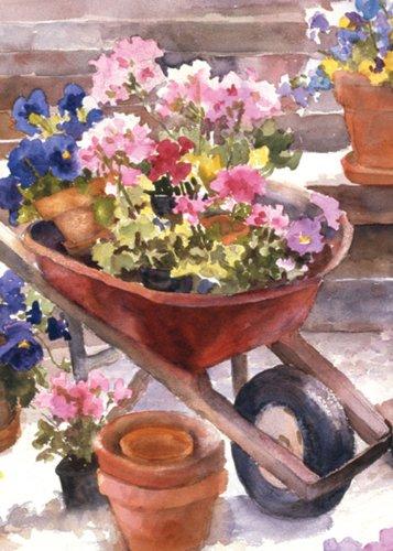 Toland Home Garden Red Wheelbarrow Garden Flag 117213
