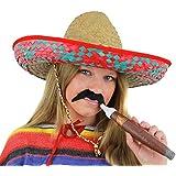 LADIES MEXICAN RED SOMBRERO + MOUSTACHE + JUMBO CIGAR NOVELTY FANCY DRESS ACCESSORY FANCY DRESS COSTUME SET