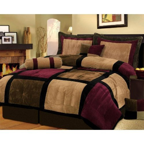 7 Pieces Brown & Burgundy Micro Suede Patchwork Comforter Bed-In-A-Bag Set Washable Queen Size