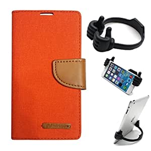 Aart Fancy Wallet Dairy Jeans Flip Case Cover for MotorolaMotoE2 (Orange) + Flexible Portable Mount Cradle Thumb OK Designed Stand Holder By Aart Store.