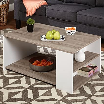 Simple Living Urban 3-Shelves Coffee Table Particle Board/ PVC Laminated with Reclaimed Look White/ Sonoma Oak Finish