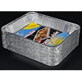 "Durable Packaging Aluminum Steam Table Pans, Half-Size, Deep, 20-3/4"" Length x 12-13/16"" Width x 2-9/16"" Depth (5 Bags of 20)"