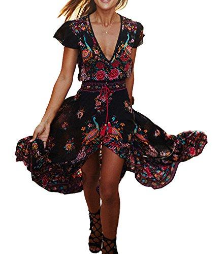 R.Vivimos Women Summer Deep V Neck Long Dresses XL (Hippie Clothing compare prices)