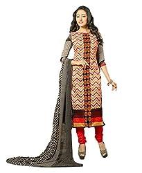 Suchi Fashion Embroidered Cream & Red Chanderi Dress Material