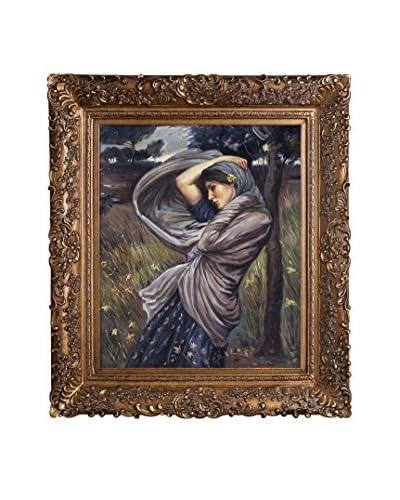 John William Waterhouse's Boreas Framed Hand Painted Oil On Canvas, Multi
