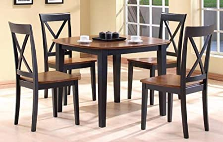 Wooden Dining Table with Walnut Top and 4 High Back Wood Dining Chair with Walnut Top in Black Finish ADS90177,90178