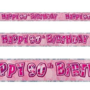 12ft Happy 90th Birthday Pink Sparkle Prismatic Party Foil Banner Decoration from Unique