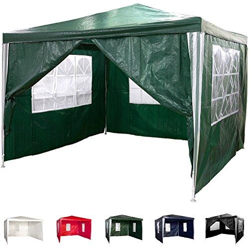 pavillon 3x3m wasserdicht 4 seitenteile 3x mit fenster 1x mit rei verschluss farbwahl. Black Bedroom Furniture Sets. Home Design Ideas