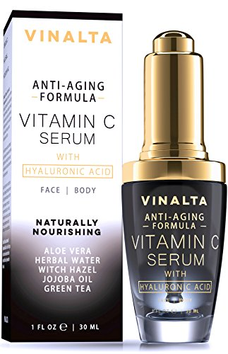 Vinalta Vitamin C Serum With Hyaluronic Acid - Anti-Aging Serum for Face - Reduces Wrinkles, Spots and Sun Damage - With 20% Vitamin C, Organic Pure Aloe Vera, Jojoba Oil and More - 1 OZ