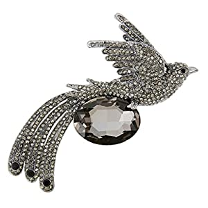 Ever Faith Black-Tone Austrian Crystal Oval Flying Phoenix Brooch Pin Black N04758-4