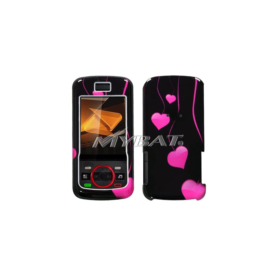 Black with Hot Pink Love Hearts Drops Design Snap On Cover Hard Case Cell Phone Protector for Motorola i856 Debut