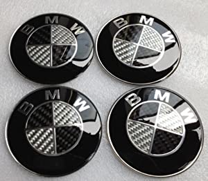 Bmw Black Silver Carbon Fiber Emblem Badge Logo Wheel Center Hubs Caps Sticker Adhesive 65mm 4pcs
