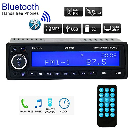 Regetek Car Stereo Receiver Bluetooth Handsfree Head Unit Single DIN In Dash 12V FM Radio SD/USB/Aux MP3 Player 60W x 4 + Remote Control (Car Stereo Unit compare prices)