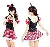 ハロウィンコスプレミニーマウス衣装カチューシャ付きコスチュームディズニードレスワンピースミニー ミニーちゃんハロウィーンミッキーシンデレラ白雪姫魔女フリー
