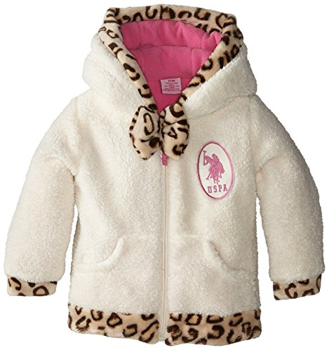 U.S. Polo Assn. Baby-Girls Coral Fleece Jacket with Faux Fur Leopard Print Trim, Winter White, 12 Months
