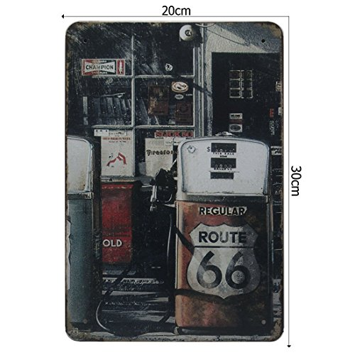 Cooltechstuff-Tin Sign-Targa in metallo da parete, Bar e Pub Home Taver Poster Vintage Retro ROUTE 66 - PETROL