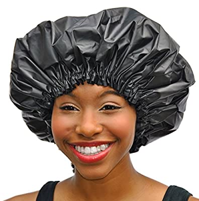 Satin Dream Water Proof Shower Cap by Simply Elegant; The Only Satin Lined Deluxe Drawstring Showercap