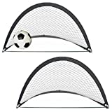 "AMOS 2 x Instant Pop Up Portable Soccer Football Sports Goals Nets in Carry Bag & Pegs Kids Childrens Junior Fun Small Indoor Outdoor Training Practice Set 17.5"" x 21.5"" x 17.5"""