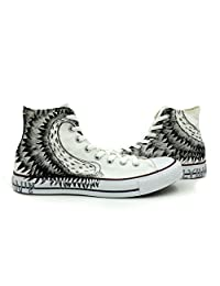 White Canvas Chuck Taylor High Top Angel Wings Women Men's Converse Sneakers Hand Painted All Star Shoes