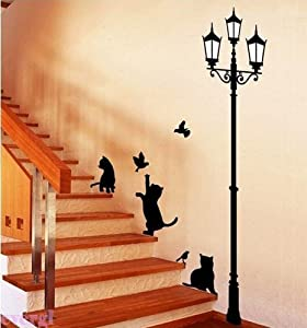 Bestchoice2go(TM) Lamp&Cat Bird Removable Wall Sticker Paper Art Deco For Drawing Room Home Workplace Dorm Or Store by Bestchoice2go