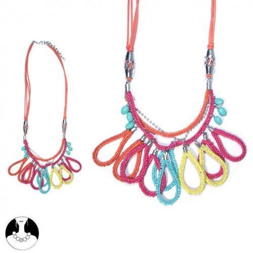 sg paris women necklace necklace 57 cm+ext 4 rows multicolor bright glass