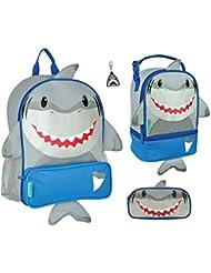Stephen Joseph Boys Sidekick Shark Backpack Lunch Pal Pencil Pouch And Zipper Pull Set For Kids