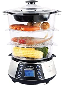 Heaven Fresh NaturoPure HF 8333 3 Layer / Tier Stainless Steel Digital Food Steamer with Rice Cooking Bowl