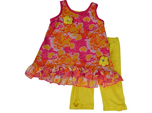 Lnlclothing Toddler Girl 2 Piece Sleeveless Top Yellow Leggings Set 2T-5T,Orange,3T front-12980