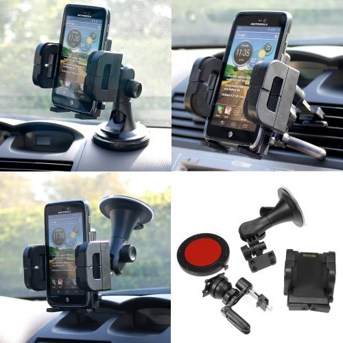 iKross 3in1 Car Vehicle Windshield / Dashboard / Air Vent Mount Holder for Apple ® iPhone ® 5 The New iPhone ® 6th Generation LTE Smartphone (Verizon, Sprint, AT&T and Global Version)
