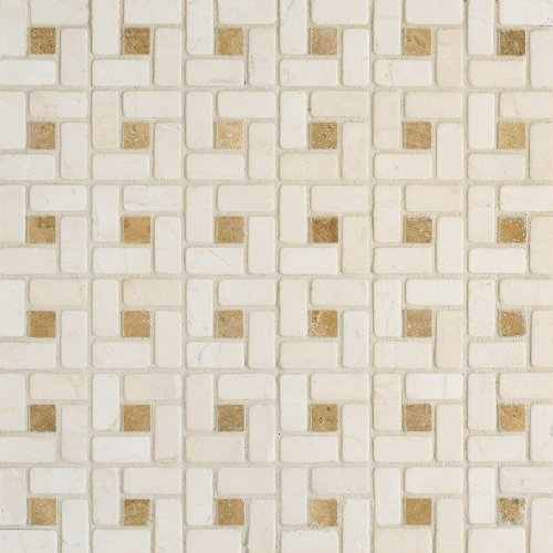 Arizona Tile ST-200 Sterling 12 by 12-Inch Tumbled/Polished Pinwheel Pattern Stone Mosaic, Crema Marfil, 4-Pack