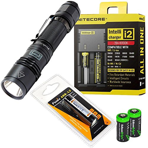 Fenix Pd35 2014 Edition 960 Lumen Cree Xm-L2 U2 Led Tactical Flashlight With Genuine Fenix Arb-L2 18650 2600Mah Li-Ion Rechargeable Battery, Nitecore I2 Intelligent Charger And 2 X Edisonbright Cr123A Lithium Batteries Package