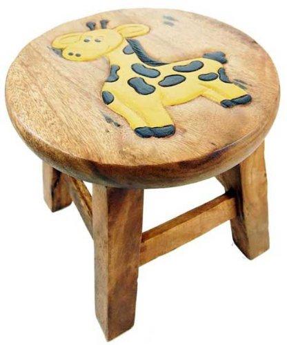 Taburete para niños diseño de estampado de jirafa de madera H25cm
